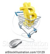 Vector Illustration of 3d Gold Bitcoin Currency Symbol in a Shopping Cart with a Connected Computer Mouse by AtStockIllustration