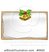 Vector Illustration of 3d Gold Christmas Bells Holly and Berries over a Blank Sign by AtStockIllustration