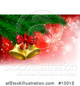 Vector Illustration of 3d Gold Christmas Bells with a Bow on Tree Branches, over Red with Snowflakes by AtStockIllustration