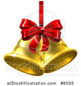 Vector Illustration of 3d Gold Christmas Bells with a Red Ribbon and Bow by AtStockIllustration