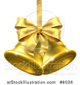 Vector Illustration of 3d Gold Christmas Bells with a Ribbon and Bow by AtStockIllustration