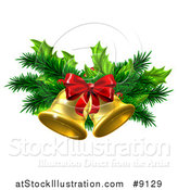 Vector Illustration of 3d Gold Christmas Bells with Branches and a Red Bow by AtStockIllustration