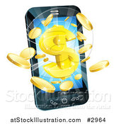 Vector Illustration of 3d Gold Coins and Dollar Symbol Bursting from a Smart Phone by AtStockIllustration