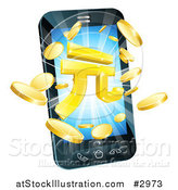 Vector Illustration of 3d Gold Coins and Yuan Symbol Bursting from a Smart Phone by AtStockIllustration