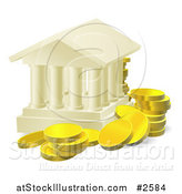 Vector Illustration of 3d Gold Coins Around a Columned Building by AtStockIllustration