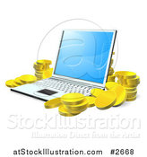 Vector Illustration of 3d Gold Coins Stacked Around a Laptop by AtStockIllustration