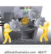 Vector Illustration of 3d Gold Men Adjusting Gear Cogs on a Machine by AtStockIllustration