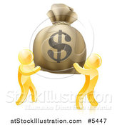 Vector Illustration of 3d Gold Men Carrying a Giant Dollar Money Bag by AtStockIllustration
