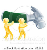 Vector Illustration of 3d Gold Men Carrying a Giant Hammer by AtStockIllustration