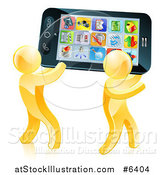 Vector Illustration of 3d Gold Men Carrying a Giant Smart Cell Phone with App Icons on the Screen by AtStockIllustration