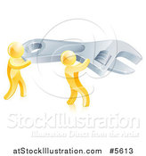 Vector Illustration of 3d Gold Men Carrying a Giant Spanner Wrench by AtStockIllustration