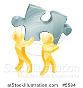 Vector Illustration of 3d Gold Men Carrying a Large Solution Puzzle Piece by AtStockIllustration