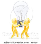 Vector Illustration of 3d Gold Men Holding up a Lightbulb by AtStockIllustration