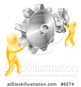 Vector Illustration of 3d Gold Men Holding up Gold Gear Cogs by AtStockIllustration