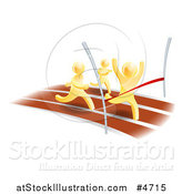Vector Illustration of 3d Gold Men Racing, One Rushing Through the Finish Line by AtStockIllustration