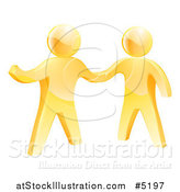Vector Illustration of 3d Gold Men Shaking Hands and One Gesturing by AtStockIllustration