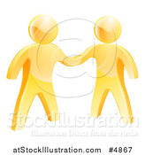 Vector Illustration of 3d Gold Men Shaking Hands by AtStockIllustration