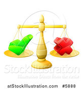 Vector Illustration of 3d Gold Scales Balancing a Check Mark and X Cross by AtStockIllustration
