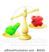 Vector Illustration of 3d Gold Scales Weighing a Decision Check Mark and X Cross by AtStockIllustration
