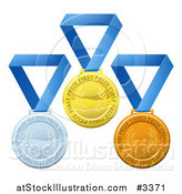 Vector Illustration of 3d Gold Silver and Bronze Prize Medals on Blue Ribbons by AtStockIllustration