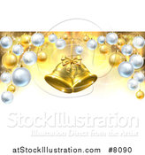 Vector Illustration of 3d Golden Christmas Bells Suspended over a Background with Baubles by AtStockIllustration