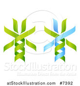 Vector Illustration of 3d Green and Blue DNA Double Helix Trees by AtStockIllustration