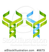 Vector Illustration of 3d Green and Blue DNA Double Helix Trees Shaped like Caduceuses by AtStockIllustration