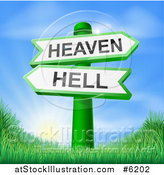 Vector Illustration of 3d Green Heaven or Hell Arrow Signs over Hills and a Sunrise by AtStockIllustration