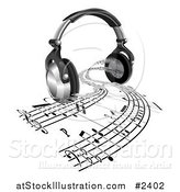 Vector Illustration of 3d Headphones with Sheet Music Streaming from Speakers by AtStockIllustration