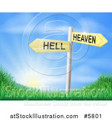 Vector Illustration of 3d Heaven or Hell Arrow Signs over Grassy Hills and a Sunrise by AtStockIllustration