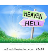 Vector Illustration of 3d Heaven or Hell Arrow Signs over Hills and a Sunrise by AtStockIllustration
