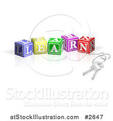 Vector Illustration of 3d Keys Attached to LEARN Letter Blocks by AtStockIllustration