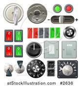 Vector Illustration of 3d Knob Switches and Dials with Buttons and Keys by AtStockIllustration