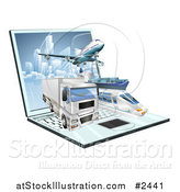 Vector Illustration of 3d Logistics Shipping Vehicles over a Laptop Computer by AtStockIllustration