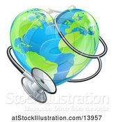 Vector Illustration of 3d Medical Stethoscope Around a Heart World Earth Globe by AtStockIllustration