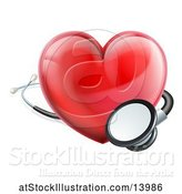 Vector Illustration of 3d Medical Stethoscope Around a Red Love Heart by AtStockIllustration