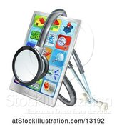 Vector Illustration of 3d Medical Stethoscope Around a Smart Phone with Apps on the Screen by AtStockIllustration