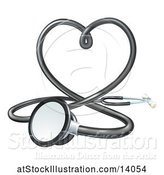 Vector Illustration of 3d Medical Stethoscope Forming a Love Heart by AtStockIllustration