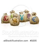 Vector Illustration of 3d Money Sacks with Colorful Currency Symbols by AtStockIllustration