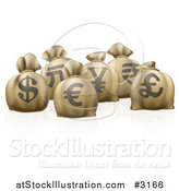 Vector Illustration of 3d Money Sacks with Currency Symbols by AtStockIllustration