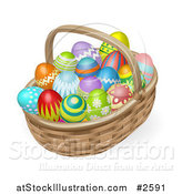 Vector Illustration of 3d Painted Easter Eggs and a Wicker Basket by AtStockIllustration