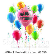 Vector Illustration of 3d Party Balloons and Confetti Ribbons with Happy Birthday Text by AtStockIllustration