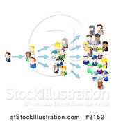 Vector Illustration of 3d People Avatars Spreading an Idea by AtStockIllustration