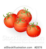 Vector Illustration of 3d Plump Red Organic Tomatoes by AtStockIllustration
