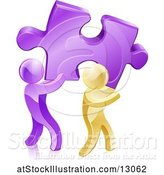 Vector Illustration of 3d Purple and Gold Men Carrying a Large Solution Puzzle Piece by AtStockIllustration