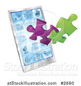 Vector Illustration of 3d Puzzle Pieces Bursting from a Smart Phone by AtStockIllustration