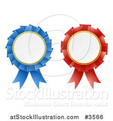 Vector Illustration of 3d Red and Blue Award Rosette Medal Ribbons by AtStockIllustration