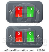 Vector Illustration of 3d Red and Green on and off Switch Buttons by AtStockIllustration