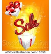 Vector Illustration of 3d Red Sale Sign Popping out of a Gift Box, on Orange by AtStockIllustration