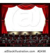 Vector Illustration of 3d Red Theater Curtains and an Audience Facing Copyspace by AtStockIllustration